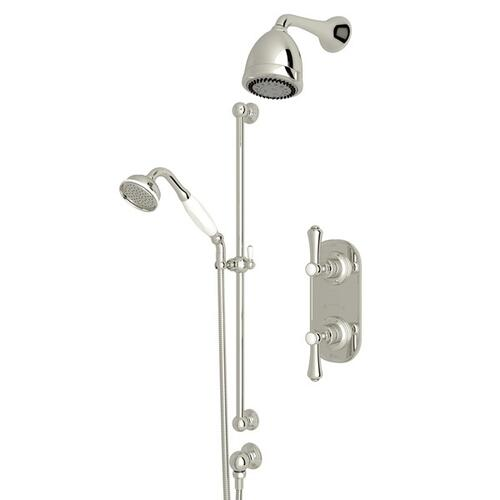 Polished Nickel GEORGIAN ERA THERMOSTATIC SHOWER PACKAGE with Georgian Era Metal Lever With Porcelain Cap