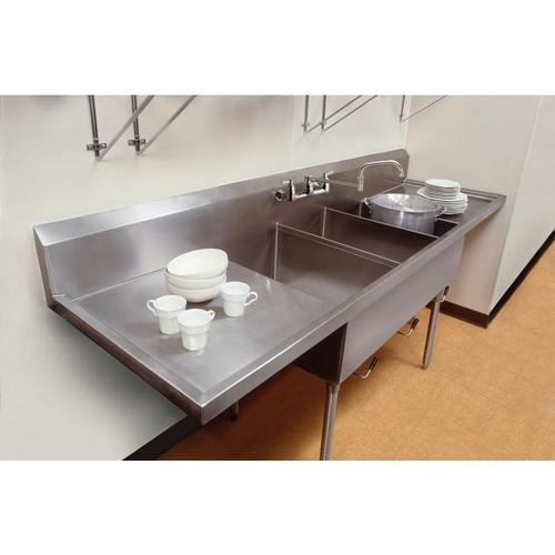 """Elkay Sturdibilt Stainless Steel 102"""" x 27-1/2"""" x 14"""" Floor Mount, Triple Compartment Scullery Sink with Drainboard"""