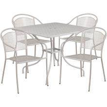 35.5'' Square Light Gray Indoor-Outdoor Steel Patio Table Set with 4 Round Back Chairs