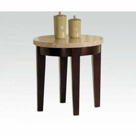 ACME Britney End Table - 17143B - White Marble & Walnut