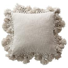 """See Details - 18"""" Square Cotton Slub Pillow with Crochet & Tassels, Grey"""