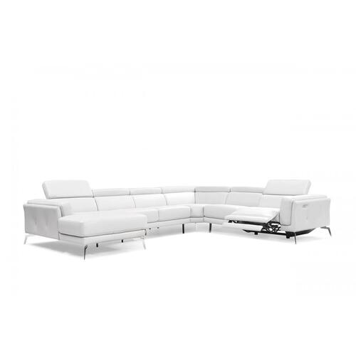 VIG Furniture - Divani Casa Gilsum - White Modern Leather U Shaped Sectional Sofa with Recliner