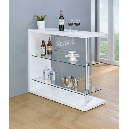 See Details - Two-shelf Contemporary Bar Unit With Wine Holder