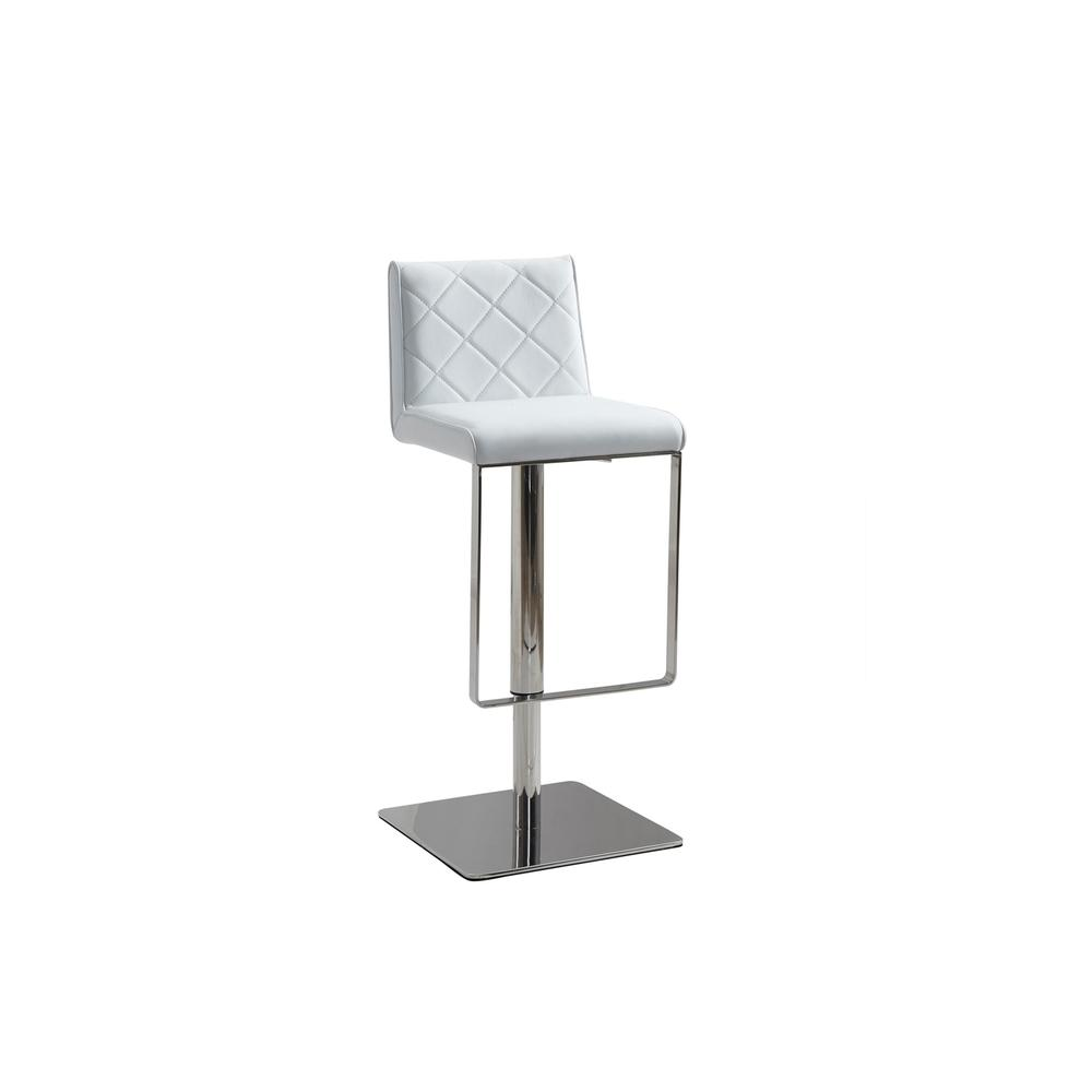 The Loft Adjustable Bar Stool In White Pu-leather With Stainless Steel Base