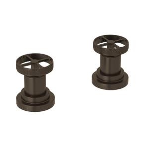Campo Set of Hot and Cold 1/2 Inch Sidevalves - Tuscan Brass with Industrial Metal Wheel Handle