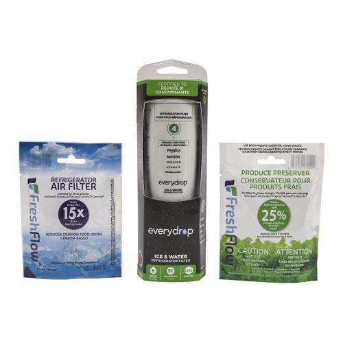 everydrop® Refrigerator Water Filter 4 - EDR4RXD1 (Pack of 1) + Refrigerator FreshFlow Air Filter + FreshFlow Produce Preserver Refill