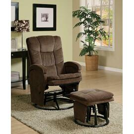 See Details - Casual Chocolate Reclining Glider With Matching Ottoman
