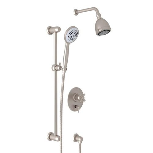 Satin Nickel Holborn Pressure Balance Shower Package with Holborn Cross Handle