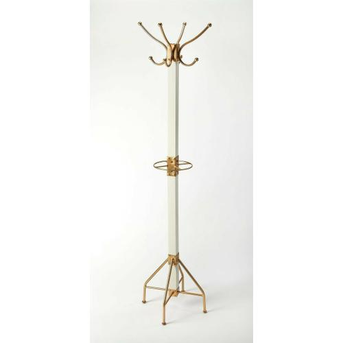 Butler Specialty Company - This rustic contemporary coat rack is an ideal addition in any entryway, den or office space to hang hats, jackets, umbrellas, or in a bathroom for towels and robes. It features 2 tiers of gold finished iron hooks and a matching base with a solid mango wood post finished in white.