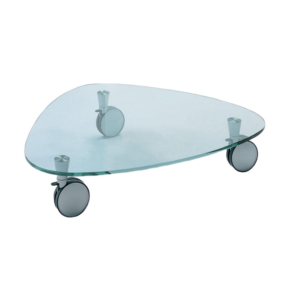 The Jagger Cocktail Table In Clear Tempered Glass With 3 Rolling Coasters