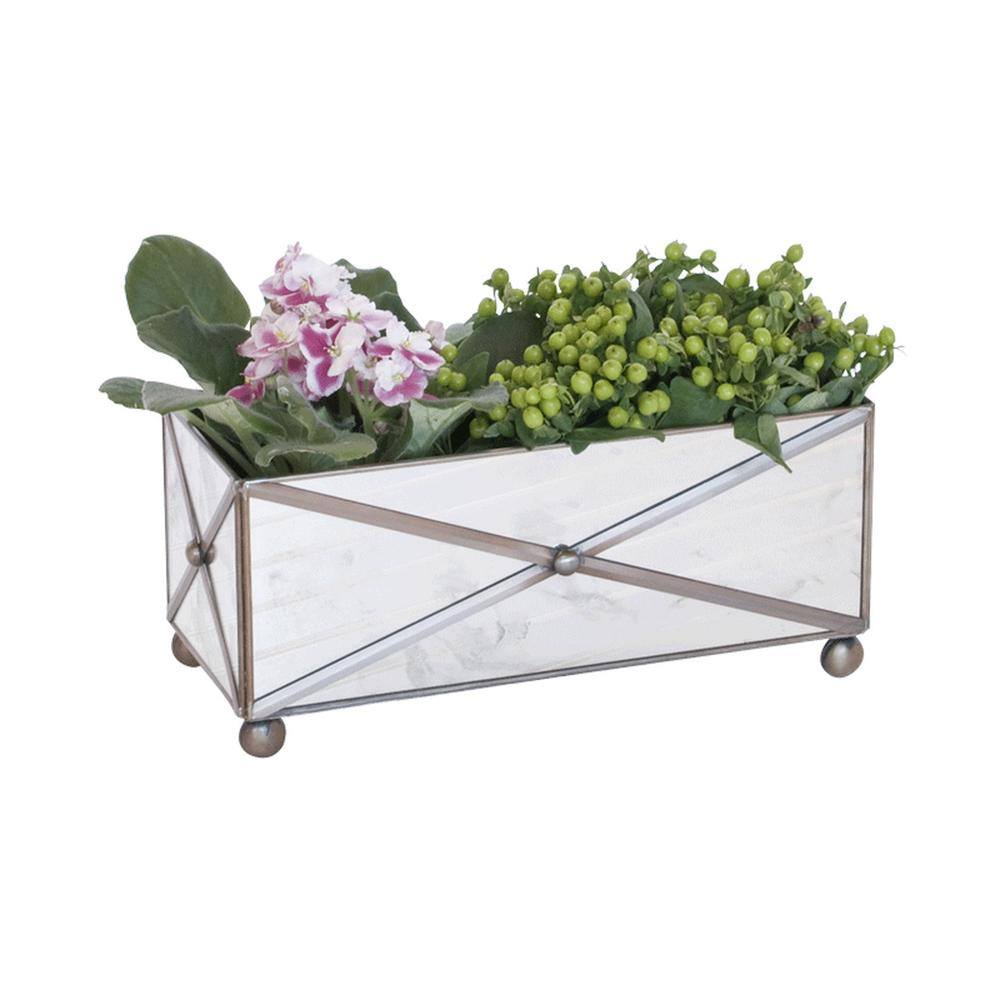 Bring A Touch of French Provencal Living To Your Indoor or Outdoor Garden Room. This Rectangular Planter Is Finished With A Distinctive Crosshatch Pattern and Antique Mirrors On Raised Ball Feet.