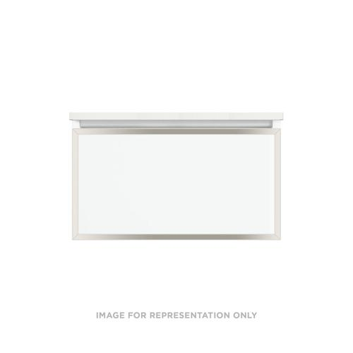 """Profiles 30-1/8"""" X 15"""" X 18-3/4"""" Modular Vanity In Satin White With Polished Nickel Finish and Slow-close Plumbing Drawer"""