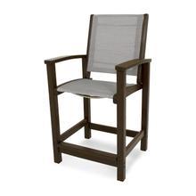 Mahogany & Metallic Coastal Counter Chair