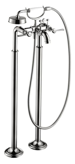 Chrome 2-handle bath mixer floor-standing 1.8 GPM Product Image