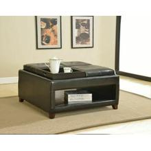 ACME Gosse Oversized Ottoman w/ 4 Trays - 96173 - Dark Brown PU