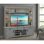 AMERICANA MODERN - DOVE 92 in. TV Console with Hutch, Backpanel and LED Lights Product Image