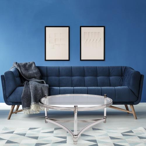 Howard Elliott - Round Stainless Steel & Acrylic Coffee Table