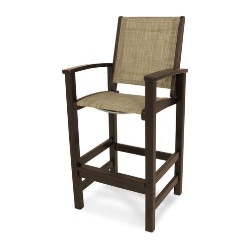 Mahogany & Burlap Coastal Bar Chair