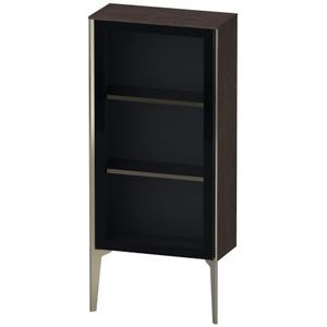 Semi-tall Cabinet With Mirror Door Floorstanding, Brushed Dark Oak (real Wood Veneer)