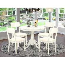 5 Pc Kitchen table set with a Dining Table and 4 Wood Seat Kitchen Chairs in Linen White