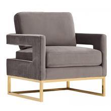 View Product - Modrest Edna Modern Grey Velvet & Gold Accent Chair