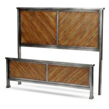 See Details - Braden Metal Headboard and Footboard Bed Panels with Rustic Reclaimed Faux Wood in Diagonal Pattern Frame, Rustic Tobacco Finish, Queen