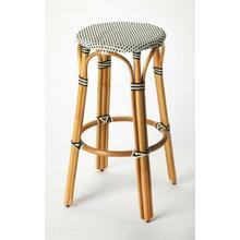 See Details - Evoking images of sidewalk tables in the Cote d'Azur, barstools like this will give your kitchen or patio the casual sophistication of a Mediterranean coastal bistro. Expertly crafted from thick bent rattan for superb durability, it features weather resistant woven plastic in a black and white striped pattern. This backless barstool is lightweight for easy mobility with comfort to make the space it's in a frequent gathering place.