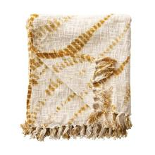 """Product Image - 60""""L x 50""""W Cotton Tie-Dyed Throw with Fringe, Mustard Color"""