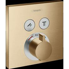 Brushed Bronze Thermostatic Trim for 2 Functions, Square