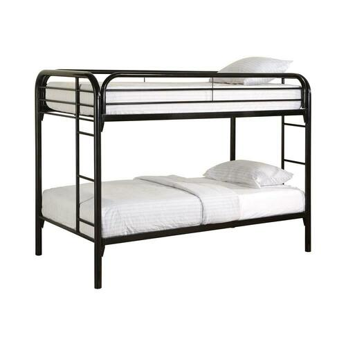Contemporary Twin Black Metal Bunk Bed
