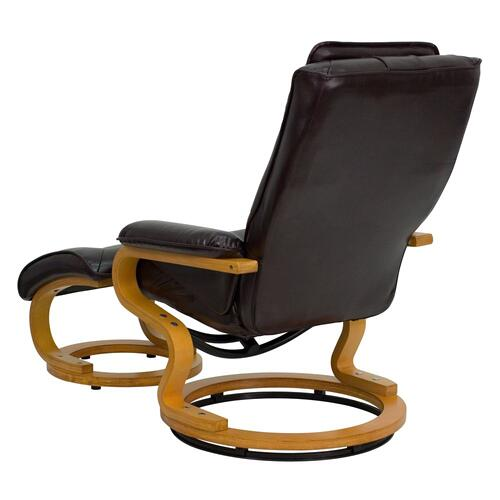 Alamont Furniture - Contemporary Brown Leather Recliner and Ottoman with Swiveling Maple Wood Base
