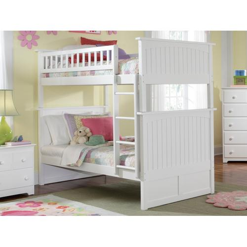 Atlantic Furniture - Nantucket Bunk Bed Twin over Twin in White