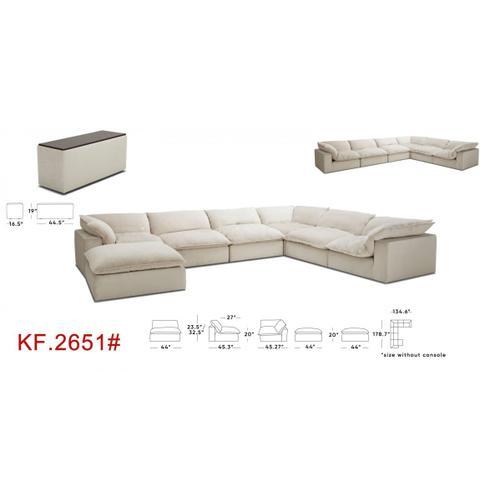 VIG Furniture - Divani Casa Garman - Modern Light Grey U Shaped Sectional Sofa with Console Table
