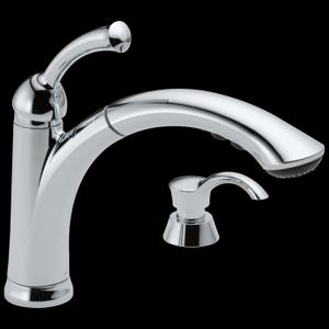 Chrome Single Handle Pull-Out Kitchen Faucet with Soap Dispenser Product Image