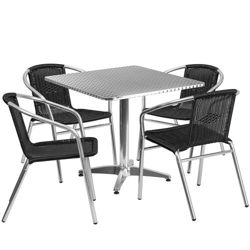 31.5'' Square Aluminum Indoor-Outdoor Table Set with 4 Black Rattan Chairs