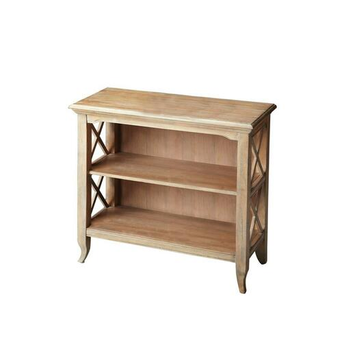 Butler Specialty Company - This stylish bookcase is a wonderful accent in a living room, family room, hallway or home office. Made for smaller spaces, versatility is one of its key attributes. Crafted from select hardwood solids and wood products, it features X-shaped side supports and a distressed driftwood finish. The top and fixed shelves are made from choice birch veneer. Shelf dimensions: Middle- 26 1/2 'W, 11 'D, 9 1/4 'H (to top); Lower- 26 1/2 'W, 11 'D, 9 3/4 'H (to middle shelf)