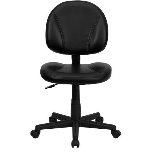 Mid-Back Black Leather Ergonomic Swivel Task Chair