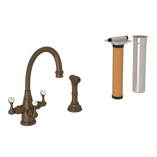 English Bronze Perrin & Rowe Georgian Era Filtration 3-Lever Kitchen Faucet With Sidespray with Etruscan Metal Lever