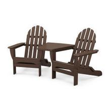 View Product - Classic Folding Adirondacks with Connecting Table in Mahogany