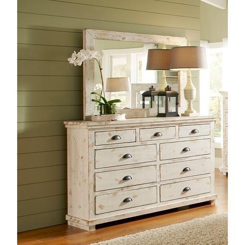 Dresser \u0026 Mirror - Distressed White Finish