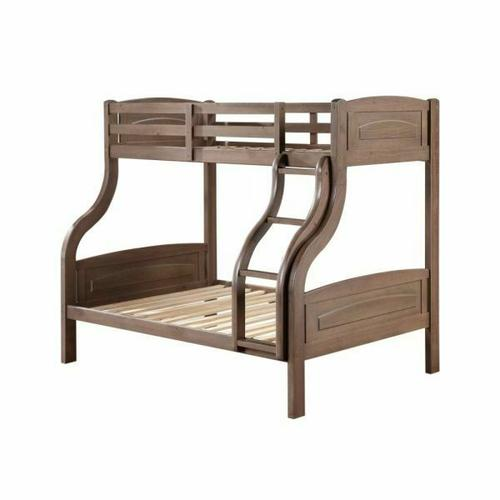 ACME Mohini Twin/Full Bunk Bed - 38125 - Transitional - Wood (Pine), Wood Veneer (Pine), MDF - Ash Oak