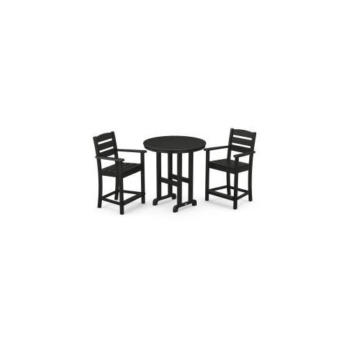 Polywood Furnishings - Lakeside 3-Piece Round Counter Arm Chair Set in Black