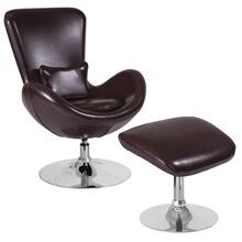 See Details - Brown Leather Side Reception Chair with Ottoman