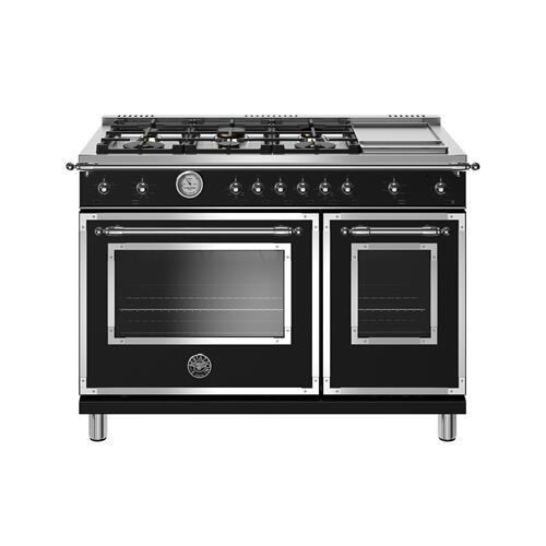 48 inch All-Gas Range 6 Brass Burner and Griddle Matt Black