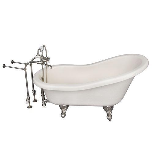 """Estelle 60"""" Acrylic Slipper Tub Kit in Bisque - Brushed Nickel Accessories"""