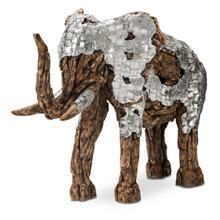 See Details - Wood Crafted Elephant W/aluminum, Medium