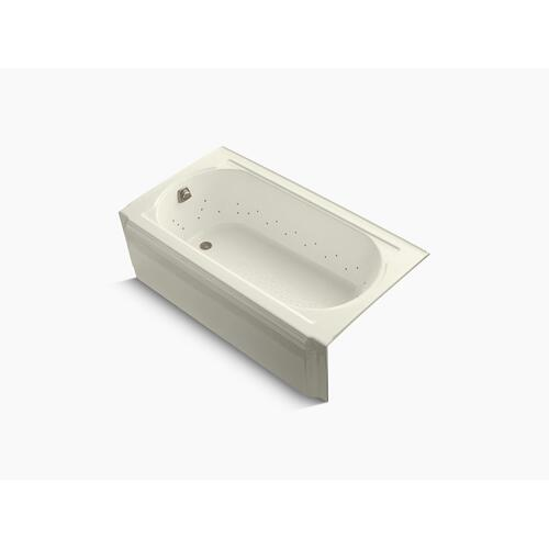 """Biscuit 60"""" X 34"""" Alcove Bubblemassage Air Bath With Vibrant Brushed Nickel Airjet Color Finish and Left-hand Drain"""