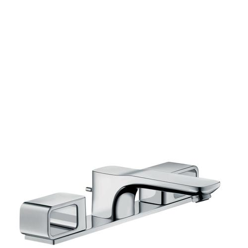 Chrome 3-hole basin mixer 50 with plate and pop-up waste set