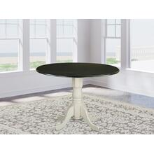 """Dublin Round Table with two 9"""" Drop Leaves - Black and Linen White Finish"""