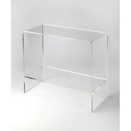 Butler Specialty Company - Crafted from clear acrylic and featuring a minimalist modern design, this console table's understated look lets your favorite framed photos or intriguing objects d'art take center stage.